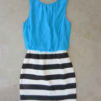 Teal on Stripes Dress