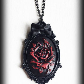 Red Rose Necklace, Gothic Victorian Cameo Pendant, Antique Red Rose, Gothic Jewelry, Romantic Jewelry, Handmade Necklace, Valentines Gift