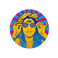 Retro Hippie Chick Button on Sale for $1.99 at HippieShop.com