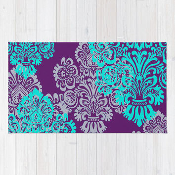 Floor Rug, Tiffany Blue Decor, Girls Room Decor, Damask, Jewel Tone, Purple and Teal with Lavender, Romantic Bedroom Decor