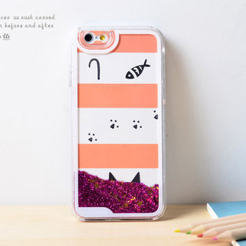 Cat Fish Dynamic Liquid Hot Pink Glitter Sand Quicksand Bling Clear iPhone 6 Plus case Retro flower Phone Case