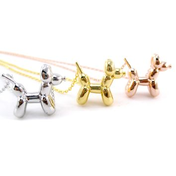 3D Balloon Dog Sculpture Balloon Twisted Animal Shaped Pendant Necklace