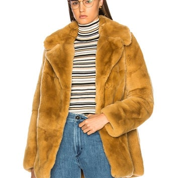 A.L.C. Rabbit Fur Stone Coat in Teddy | FWRD