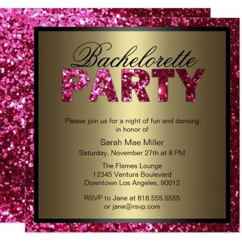 Hot Pink Glitter Bachelorette Party Invitation