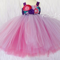 Pink, Purple, Hot Pink Tutu Dress- Turquoise, Flower Girl, Birthday, 1st birthday, Cake Smash, flowers, toddler, baby girl, pageant dress