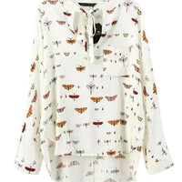 Insect Print Bow Blouse