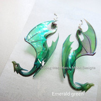 Dragon Earrings, 7 colours available, iridescent acetate earrings, pierced ear or clip on