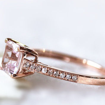 14kt Rose Gold 6.5x6.5mm Asscher Cut VVS1 Morganite Wedding  Ring with Diamond Stacking Ring Promise Ring Gemstone Jewelry Propose Ring