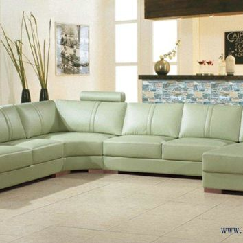 Free Shipping Beige Green Sofa Large size leather Sofa Real Cow Leather Settee modern design furniture Living room sofa set