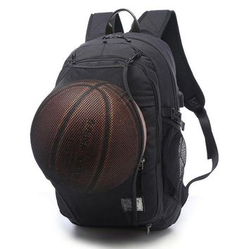 Sports gym bag Multifunction Basketball Backpack Man  Gym Bag 15.6 Inch Laptop with Basketball Net USB Charging Port Male Bag KO_5_1