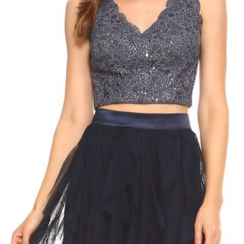 Teeze Me | Two-Piece Sleeveless V Neck Scallop Lace Crop Top and Corkscrew Skirt Social Dress | Charcoal/Navy