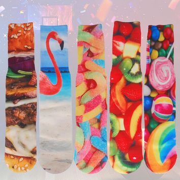 3D Printing Sporty Compression Socks for Men Fish Cat Flamingo Candy Hamburger Printed Thickened towel bottom Novelty Sock