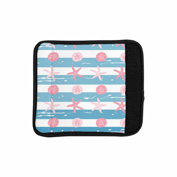 "afe images ""Starfish And Sand Dollar Pattern"" Pink Blue Digital Luggage Handle Wrap"