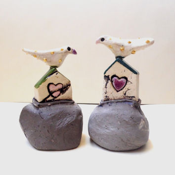Set of two miniature houses , handmade ceramic rustic houses on gray hills , collectible item , hostess gift , for the home , home decor