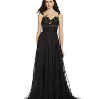 Mac Duggal Lace & Chiffon Illusion Gown - Black