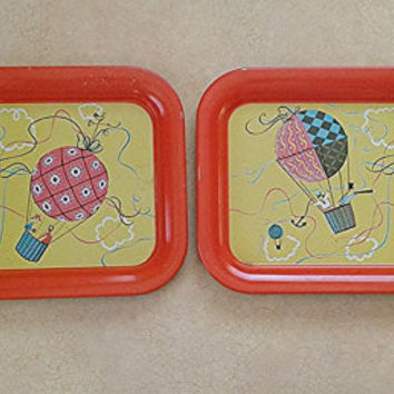 Vintage hot air balloon tv trays set of 2 antique serving trays orange and yellow serving trays reto childrens and kids trays