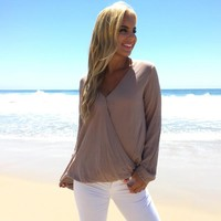 Closed Off Blouse In Mocha