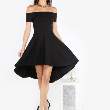 Black Off Shoulder Skater Dress