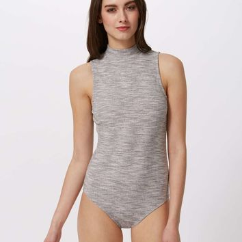 Grey Rib High Neck Body | Missselfridge