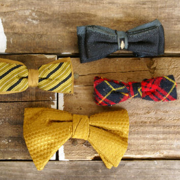 Vintage Bow Ties // Plaid Gold Blue Stripe by LarchTradingCompany