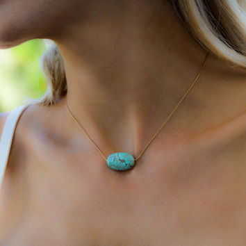 Modern Turquoise Necklace, Turquoise Jewelry Silver Turquoise Necklace Turquoise Silver Necklace Genuine Turquoise Necklace Turquoise Bead
