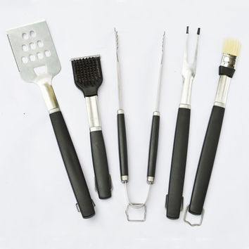 5pc/set Stainless Steel BBQ Tool set(Spatula, Fork ,Tong ,Basting Brush, Grill Brush)
