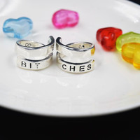BEST BITCHES Rings Split Words Match Rings Set of 2 Silver Plated