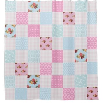 Pastel Pink and Blue Country Patchwork Pattern Shower Curtain