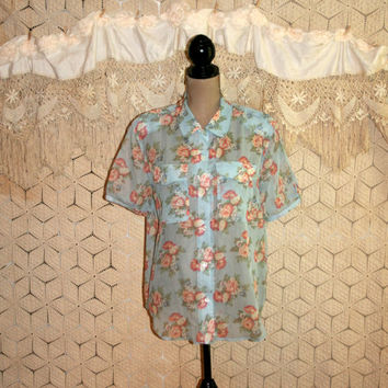 Floral Blouse Floral Top Spring Short Sleeve Button Up Shirt Sheer Gauzy Cotton Shabby Chic Pink Blue Liz Claiborne Large XL Womens Clothing