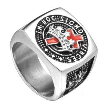 Knights Templar Masonic Ring Stainless Steel [Silver & Gold]