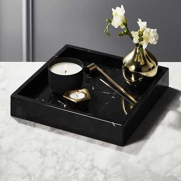 Stack Black Marble Tray