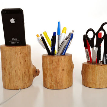 iPhone dock / Office Organizer / Pen Holder - iPhone 4, iPhone 5 cradle from rustic wood - unique desk / office accessory