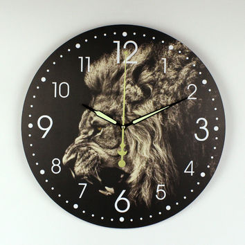 Modern Lion Wall Decoration Watch Creative Design Warranty 3 Years More Silent Decorative Wall Clock For Home Decoration