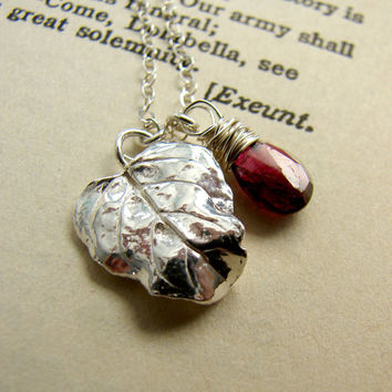 Silver Leaf and Garnet January Birthstone Necklace
