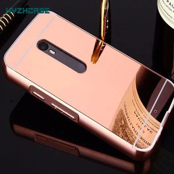 case For Moto X Play Mirror Smart Mobile Phone Shell Fashion Luxury Rose Gold Back Cover Coque for Motorola MotoX Play 1 PCS
