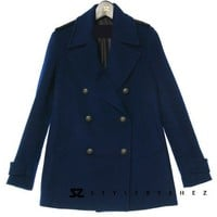 Classic Streamline Wool Blend Notched Lapel Double Breasted Peacoat 2 Colors