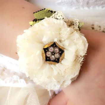 Floral Wrist Corsage - Black and Ivory Blossom
