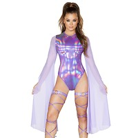 Holographic Flared Mesh Sleeve Rave Bodysuit
