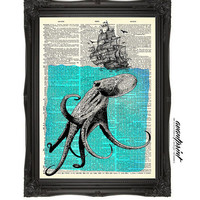 What Lies Beneath Sea Monster Original Print on an Unframed Upcycled Bookpage