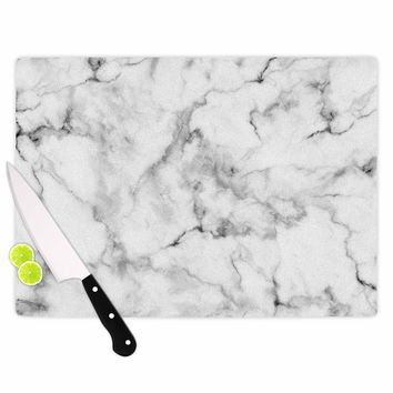 "Kess Original ""White Marble"" Gray White Cutting Board"