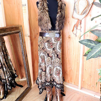 Fringed skirt / size S  / long paisley skirt / brown gold maxi skirt /  long boho festival skirt
