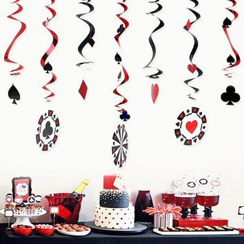Pack of 9  Foil Casino Swirl Decorations Playing Card Swirls Poker Card Decor Place Your Bets Alice in Wonderland Tea Party