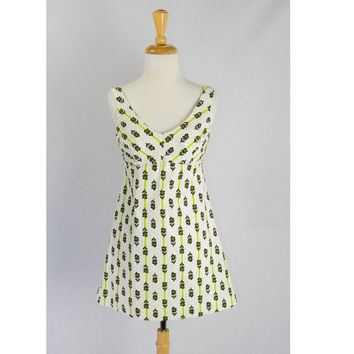 Vintage 1970s Polka-dot Stripe Mini Dress with Built in Bra Novelty Print