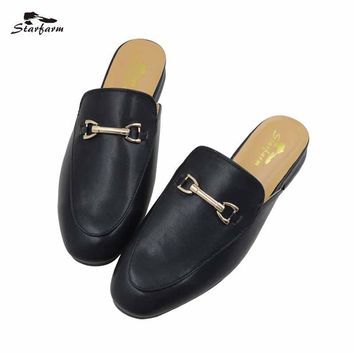Fashion Online Starfarm Flat Mules Slippers Fur Leather Winter Oxford Slides Design Backless Women Slip Shoes Black Slip On Loafers 2017