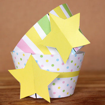 DIY Printable Patterned Star Theme Cupcake Wrapper Set – pastel rainbow polka dot and stripe patterns INSTANT DOWNLOAD
