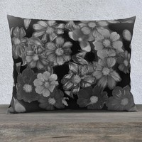 Cosmos Night - Floral Pillow Cover-Black and White Pillow Case - Throw Pillow Cover - Floral Home Decor - Flowered Pillowcase