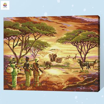 Giraffe Zebra Africa Scenery Frameless Digital Painting By Number Acrylic Paint Modern Wall Art Canvas Painting Home Deco Deal