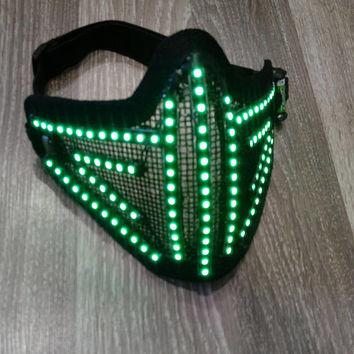 LED Mask, Rave Mask, Party Mask, Led Costumes, Festival Mask, Face Mask, Rave Wear, EDM, Led Clothing, Light Up Mask, Glowing Mask, Festival