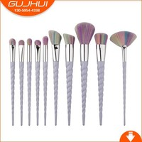 10 Unicorn Make Up Brushes, New Spiral Thread, Ox Horn Makeup Brush, GUJHUI Brush