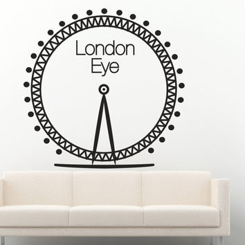Interior London Wall Decal Vinyl Sticker Art Decor city wheel circle park entertainment round Ferris city street park mountain range (i109)